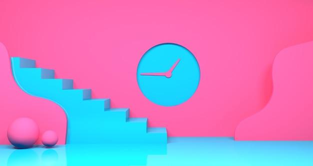 抽象的なピンクとティールブルーの色の幾何学的形状の3dレンダリング