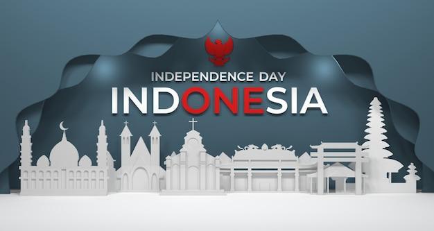 都市の建物の3dレンダリングとインドネシアの宗教コミュニティの適切な崇拝。