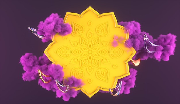 3diwali, festival of lights 3d scene with indian rangoli, glossy and golden decorative diya oil lamp, purple clouds. 3d rendering illustration.