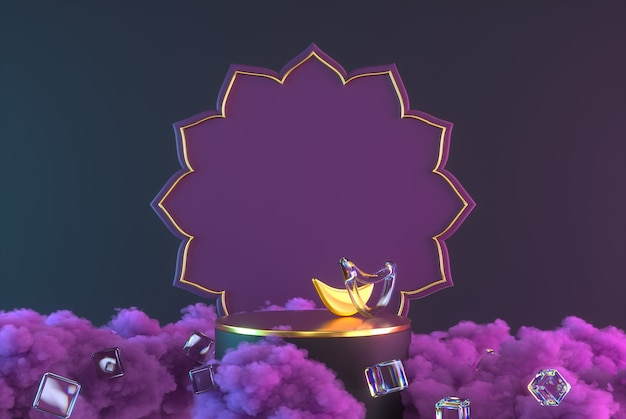 3diwali, festival of lights podium scene with 3d indian rangoli, glossy and golden decorative diya oil lamp, purple clouds. 3d rendering illustration.