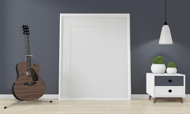 ミニキャビネットジャパンミニマルデザインと禅部屋のインテリアデザインのモックアップ装飾。3drednering