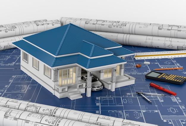 描画ツールとハウスでの建設計画。 3drender