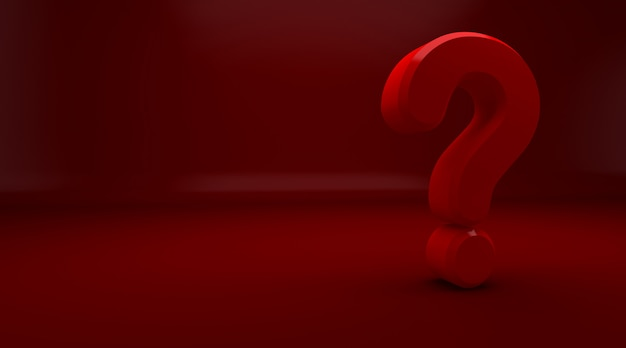 3drendering of red question mark on red background. exclamation and question mark