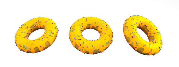 3drendering yellow donut cheeze on white background