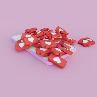 Смартфон 3s иллюстрации покрыт значками на розовом фоне