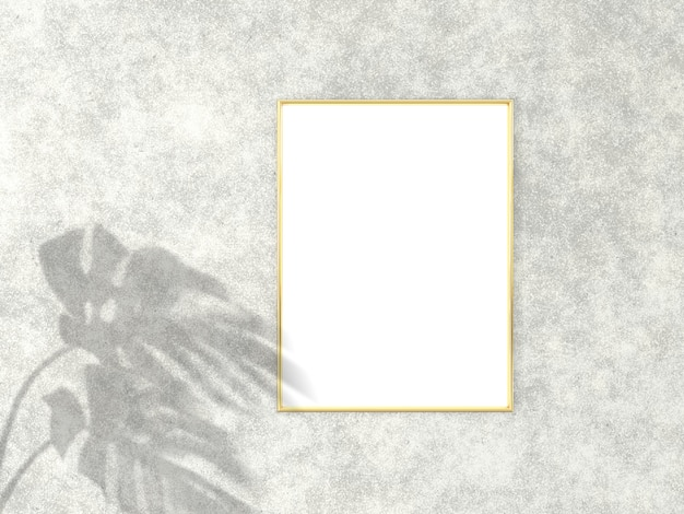 3x4 vertical gold frame for picture mockup. 3d rendering.