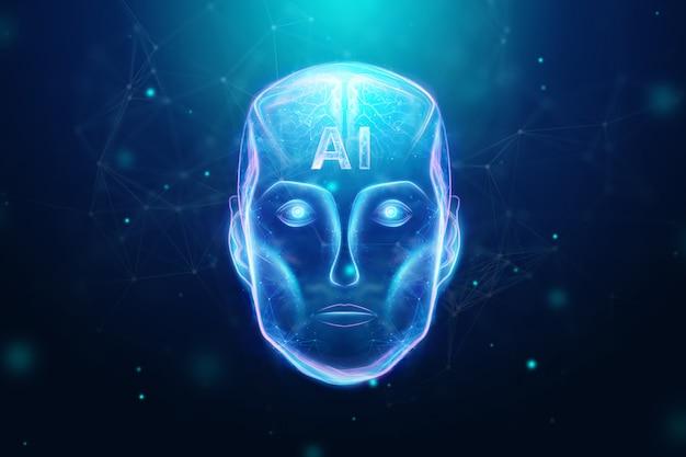 ブルーホログラムロボットヘッド、人工知能。コンセプトニューラルネットワーク、オートパイロット、ロボット化、産業革命4.0。 3dイラスト、3dレンダリング。