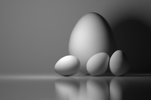 4つのイースターエッグ。 1つの大きな卵と3つの小さな白い卵