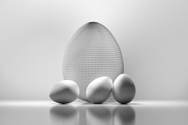 4つのイースターエッグ。ワイヤー製の大きな卵1個と小さな白い卵3個。