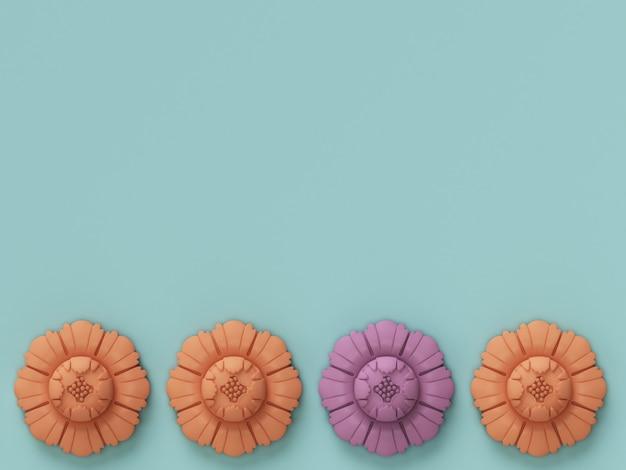 4 декоративные цветы с копией пространства. пастельная гамма. минимальная концепция. 3d-рендеринг