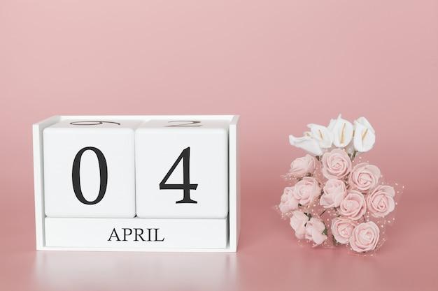 4月4日月の4日モダンなピンクのカレンダーキューブ