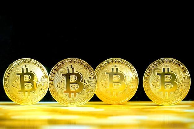 4 биткойна, криптовалюта. цифровая блокчейн-технология. деньги в будущее. бизнес, финансы