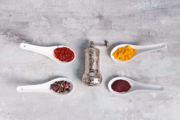4 kinds of spices of different grinding in spoons with handle grinder on stone , flat lay