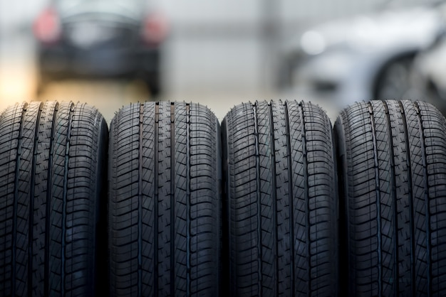 4 new tires that change tires in the auto repair service center