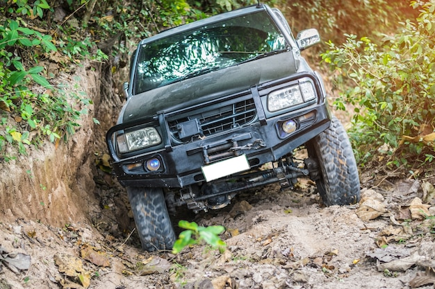A 4 wheel drive is climbing on a difficult off-road in mountain forests.