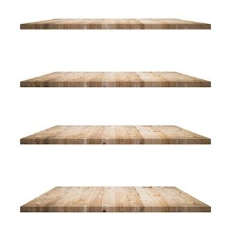 4 나무 선반 테이블 흰색 배경에 고립 및 제품에 대 한 몽타주를 표시합니다.