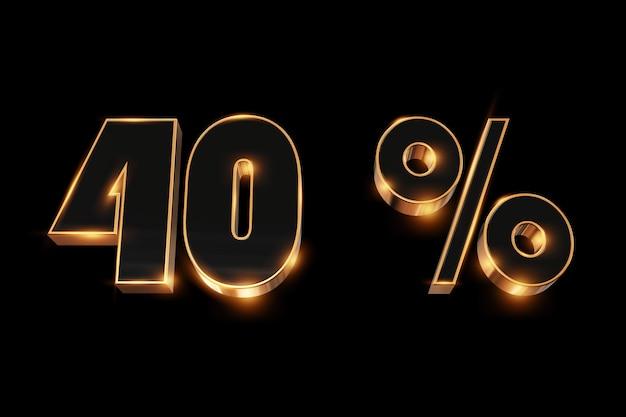 創造的な背景、ウィンターセール、40%、割引、3 dゴールドの数字。