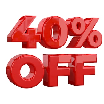 40% off on white background, special offer, great offer, sale. forty percent off promotional