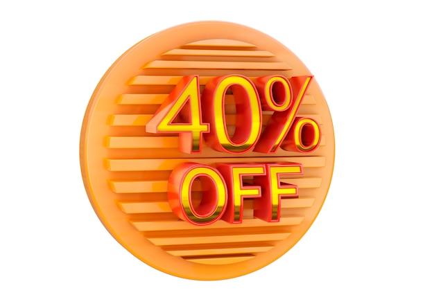 Скидка 40% на белой поверхности, рекламная марка для применения в баннере, этикетке и бирке.