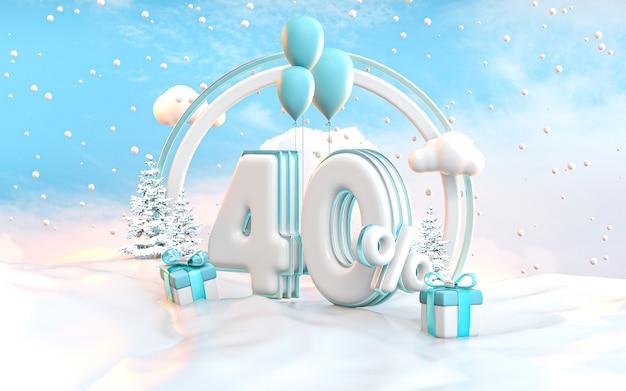 ソーシャルメディアプロモーションポスター3dレンダリングの40%冬の特別オファー割引の背景