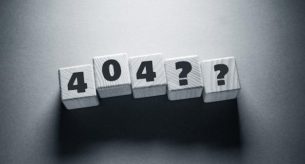 404 word written on wooden cubes