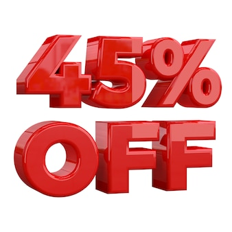 45% off on white background, special offer, great offer, sale. forty five percent off promotional