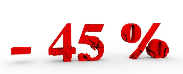 45% скидка значок на белом фоне 3d