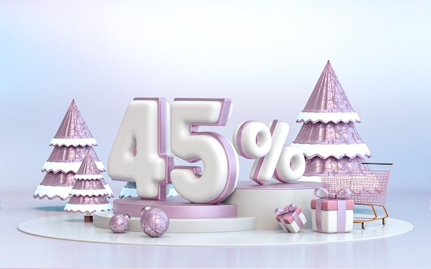 소셜 미디어 프로모션 포스터 3d 렌더링을 위한 45% 겨울 특별 제공 할인 배경