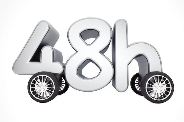 48 часов обслуживания и концепции доставки на колесах на белом фоне. 3d-рендеринг.