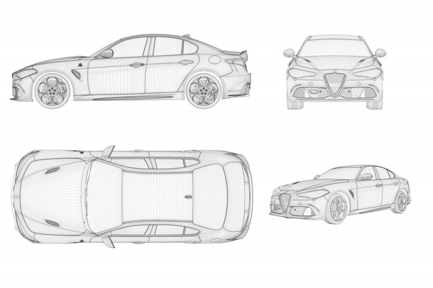 ワイヤーフレームのジェネリック車とブランドレス車の4つのビュー