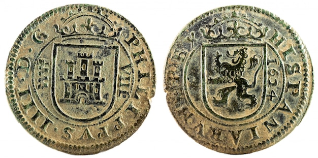 フェリペ4世の古代スペインの銅貨。
