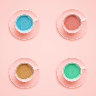 異なる色の4つのコーヒーカップ。最小限のスタイル