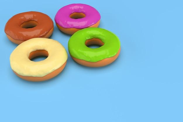 青色の背景に4つの着色されたドーナツ