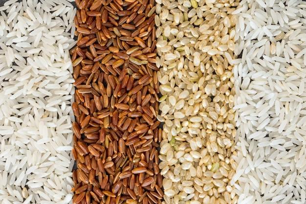 米の背景の4つの異なる種類