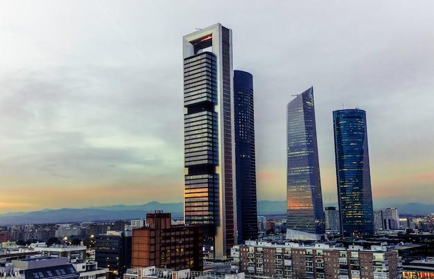 マドリードの金融街の4つの塔