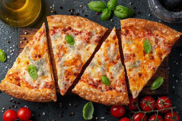美味しいイタリアンピザ4種のチーズ。