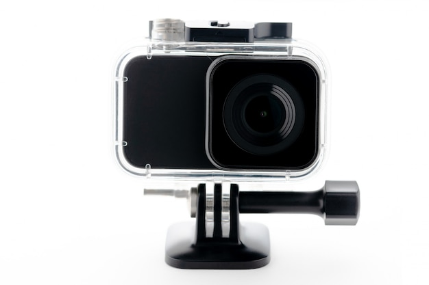4k action camera isolated on a white background.
