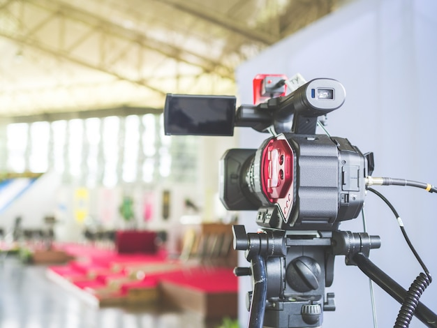 4k digital video camera, preparing for record and broadcast a live event