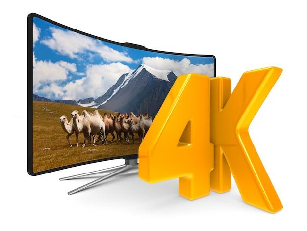 白い背景の上の4kテレビ。分離された3dイラスト