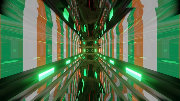 4k uhd 3d illustration of abstract background with colorful walls as flag of ireland