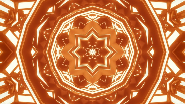 4k uhd 3d illustration of abstract crystal shaped ornament glowing with bright neon orange light