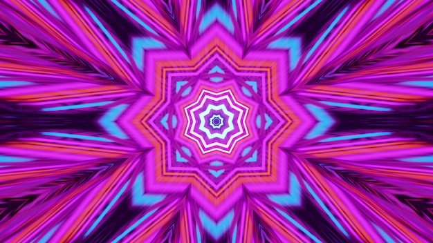4k uhd 3d illustration of abstract geometric ornament shining with multicolored neon lights