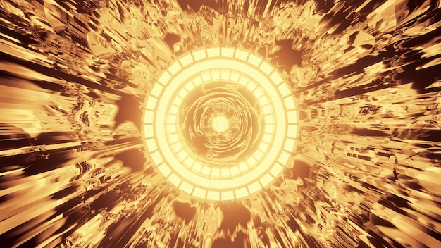 4k uhd 3d illustration of abstract geometric tunnel with round ornament shining with vivid neon golden light