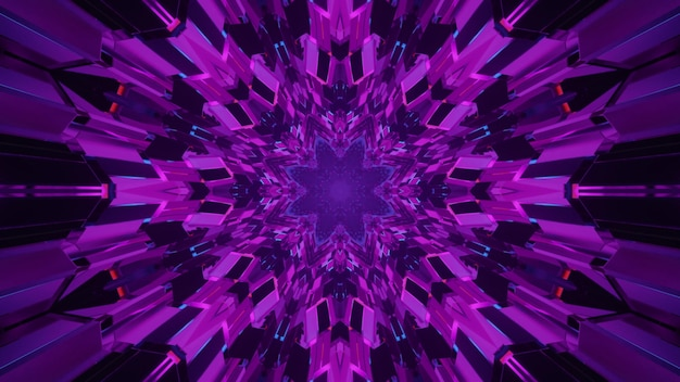 4k uhd 3d illustration of abstract purple crystals forming symmetric futuristic tunnel with neon illumination