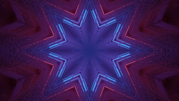4k uhd 3d illustration of abstract star shaped ornament shining with vivid red and blue neon lights