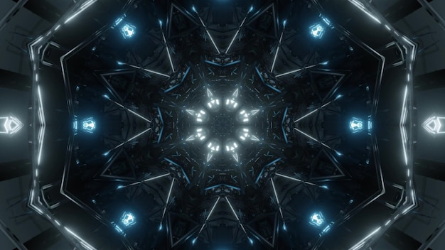 4k uhd 3d illustration of blue neon lamps shining and forming abstract ornament inside tunnel