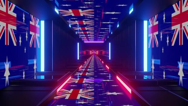 4k uhd 3d illustration of bright flags of australia glowing with neon light inside futuristic corridor