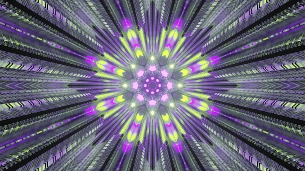 4k uhd 3d illustration of bright green and violet neon lights forming geometric ornament inside futuristic tunnel