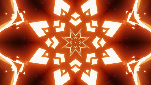 4k uhd 3d illustration of bright neon lights of orange color forming abstract star shaped ornament