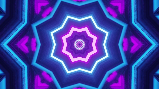 4k uhd 3d illustration of bright symmetric star shaped ornament formed with blue and purple neon lines